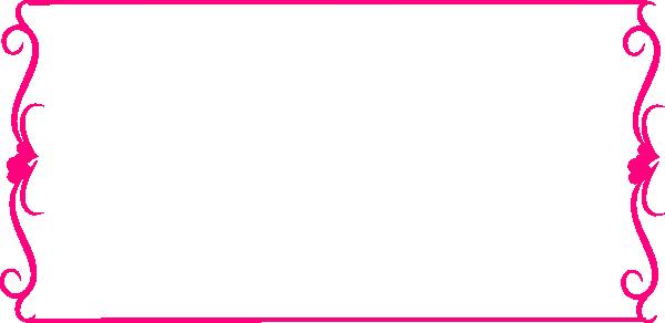 600x292 Bright Pink Heart Border Clip Art