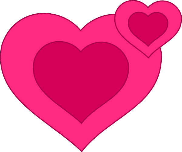 600x501 Two Pink Hearts Together Clip Art