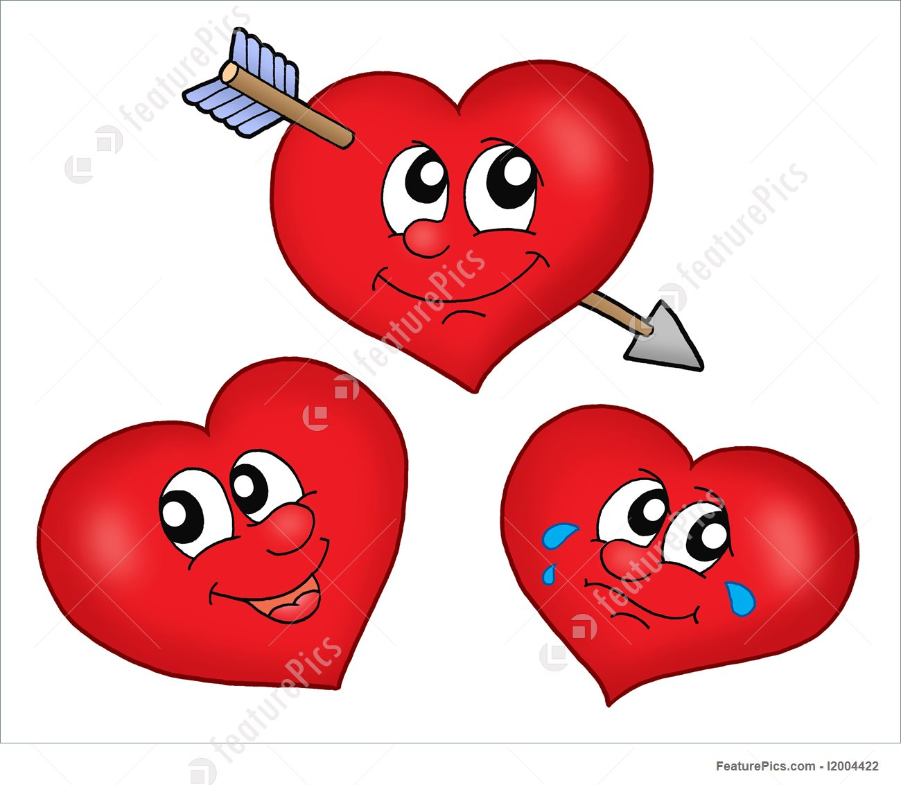 1300x1133 Three Cartoon Hearts Illustration