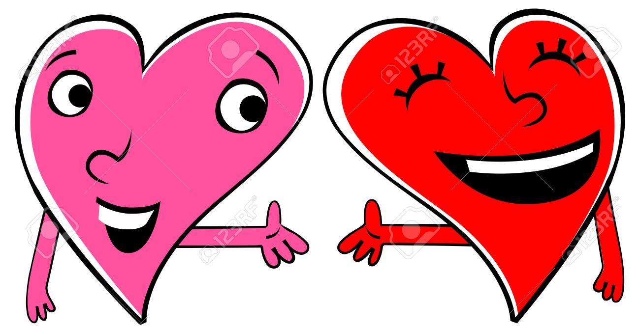 1300x670 Two Cartoon Hearts Expressing Love And Friendship. Holding Hands