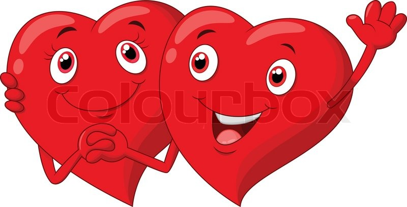 800x408 Vector Illustration Of Cute Cartoon Valentine Hearts Couple