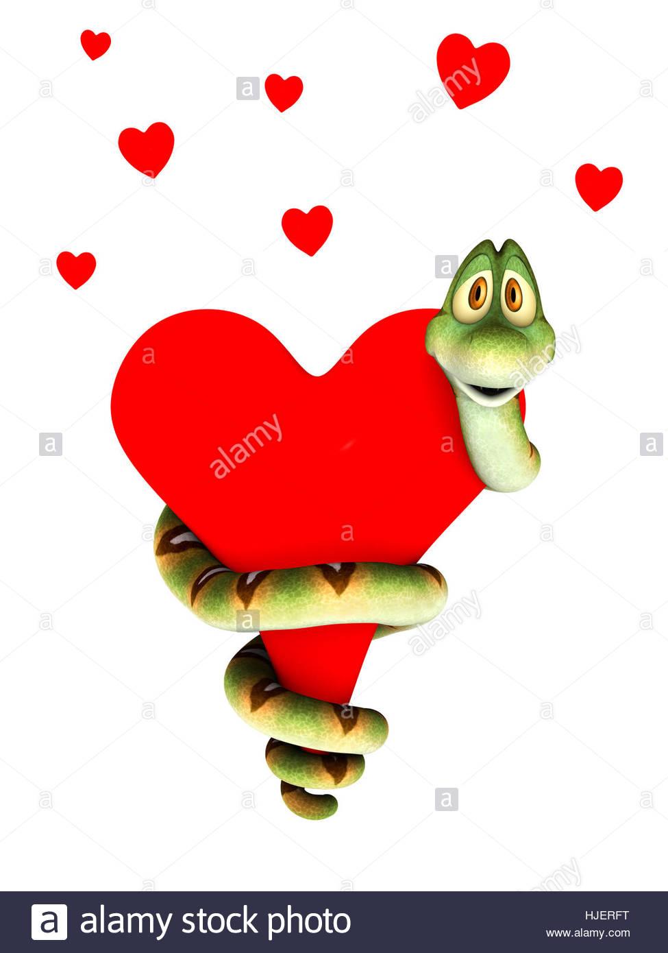 975x1390 A Cute Cartoon Snake Curling Around A Big Red Heart, Cuddling It