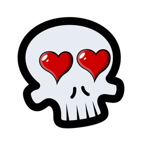 289x300 Funny Romantic Skull Tattoo With Flames And Hearts