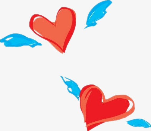 501x436 Two Flying Hearts, Cartoon, Red, Wing Png And Psd File For Free