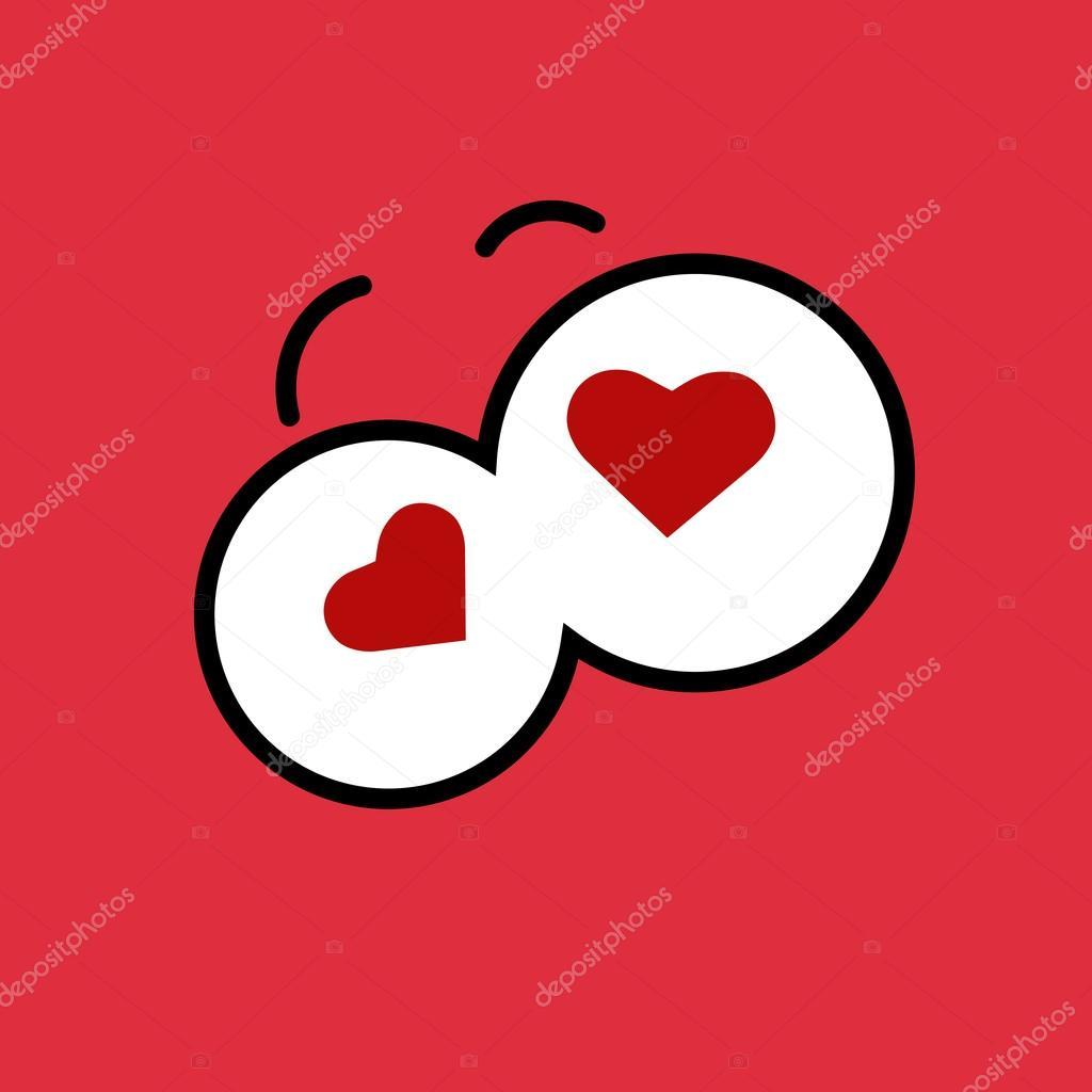 1024x1024 Funny Cartoon Eyes With Hearts Stock Vector Mara Lingstad