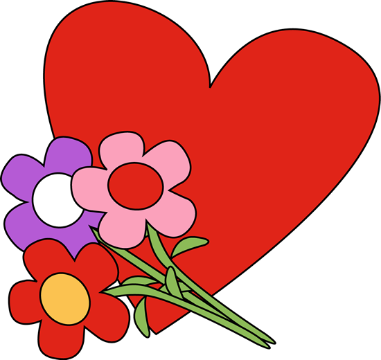 550x520 Valentine's Day Heart And Flowers Clip Art