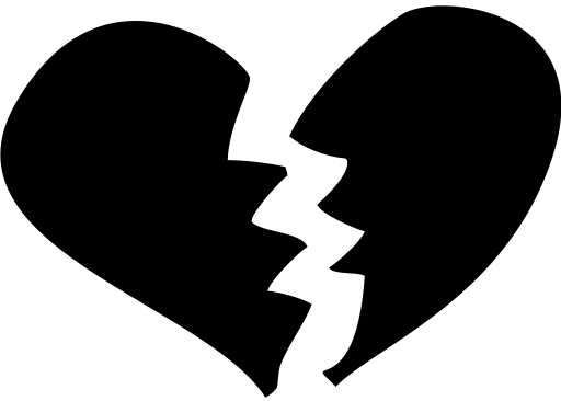 512x366 Broken Heart Clipart Black And White