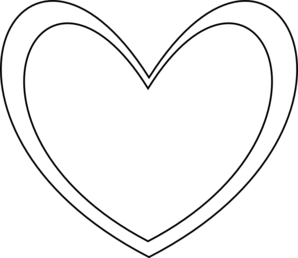 298x258 Double Heart Black And White Clipart