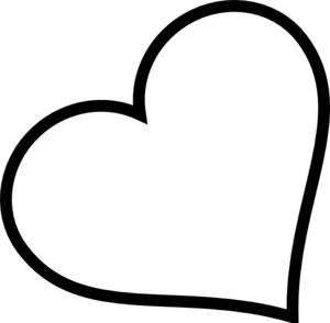 300x294 Black Heart Tilted Clip Art
