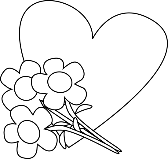 550x520 Black And White Valentine's Day Heart And Flowers Clip Art