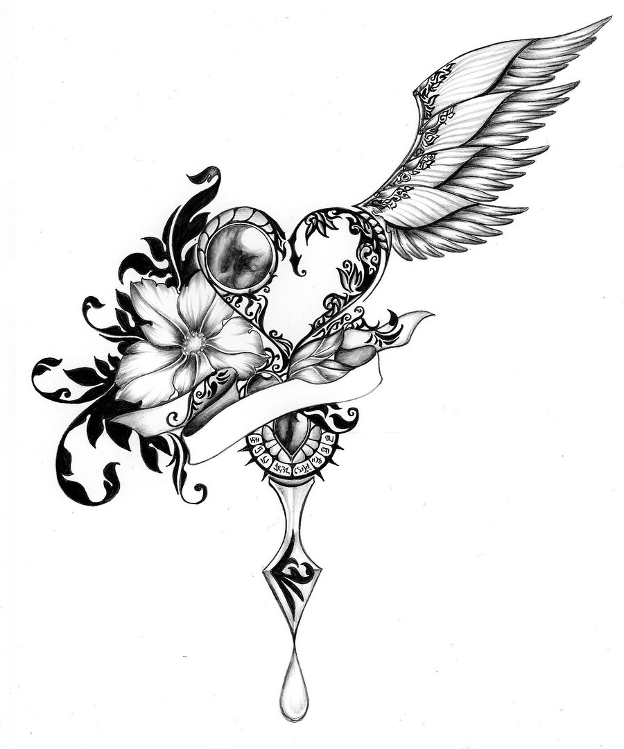 900x1080 Cool Drawings Of Hearts With Wings