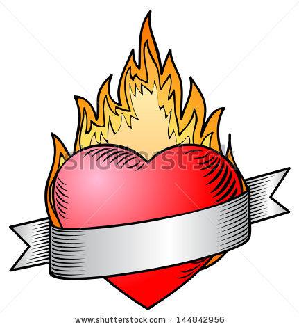 431x470 Drawn Broken Heart Fire