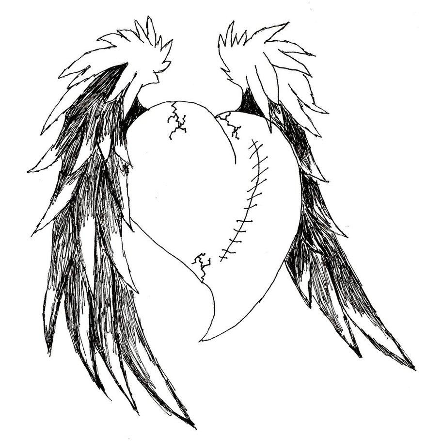 879x909 Broken Emo Hearts With Wings