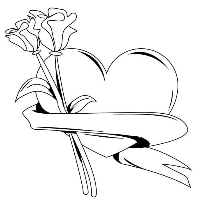 Hearts With Flames Coloring Pages Free download best Hearts With