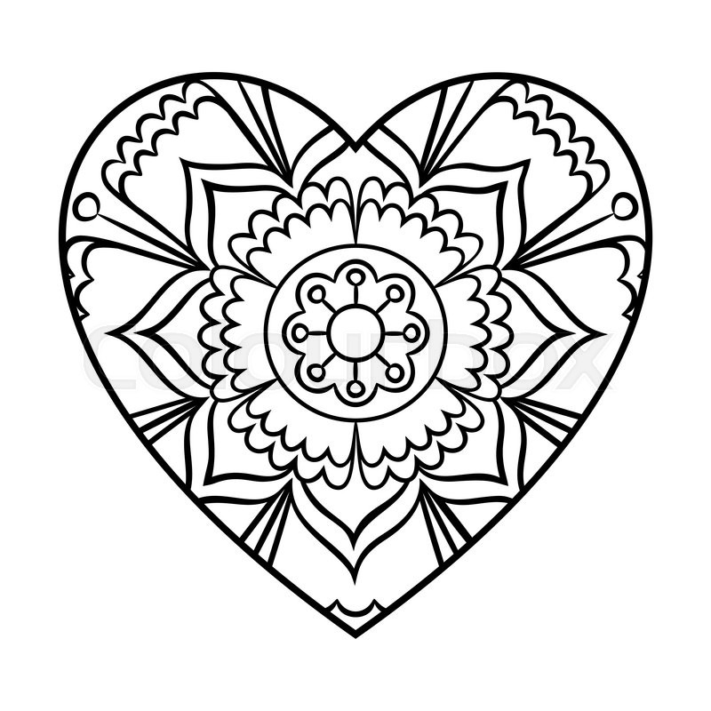 800x800 Doodle Heart Mandala Coloring Page. Outline Floral Design Element