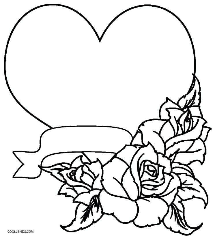 745x820 Heart Coloring Pages Rose Hearts And Roses Coloring Pages Free