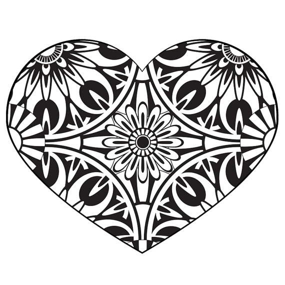 570x570 Heart Coloring Pages For Adults. Free Printable Adult Coloring