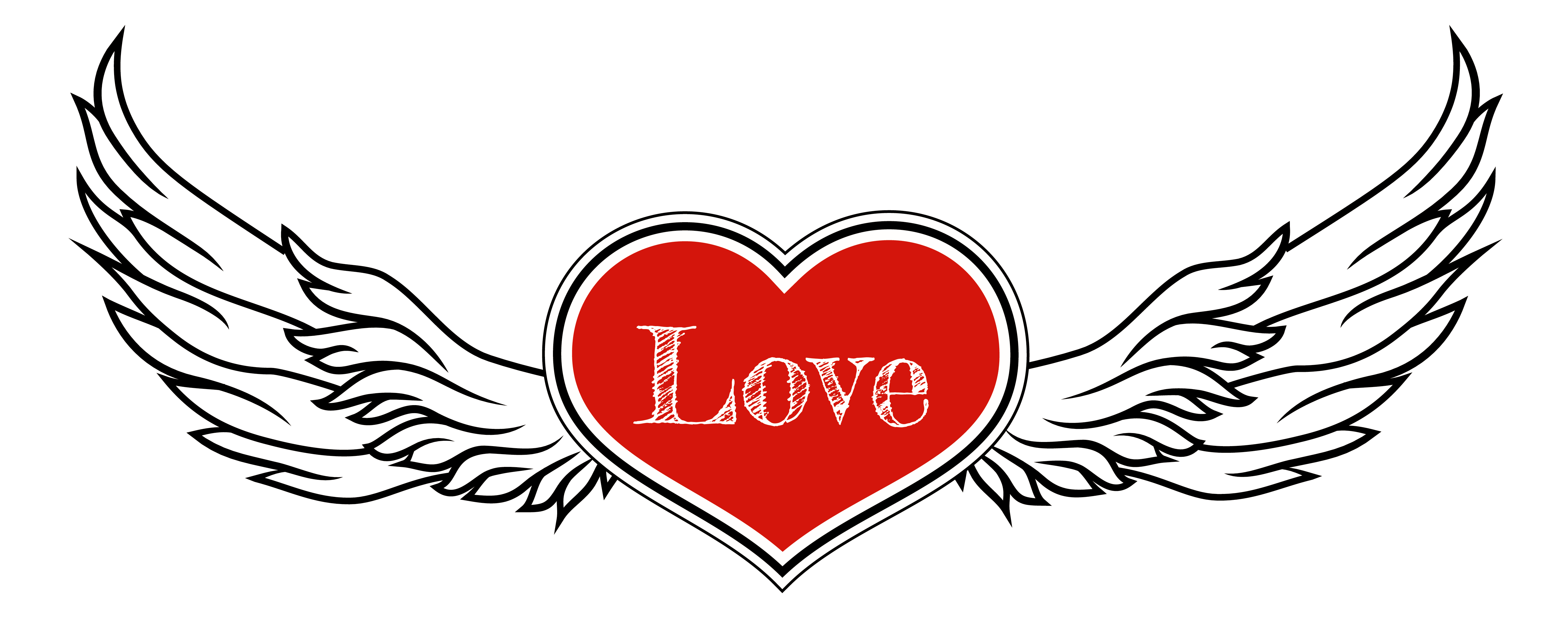5277x2111 Heart With Wings Clipart