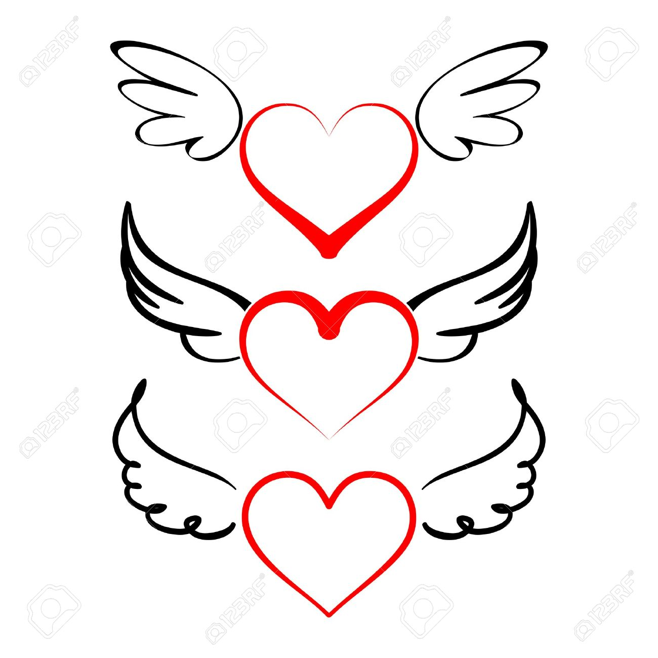 1300x1300 Heart With Wings Collection Cartoon Vector Illustration Tattoos