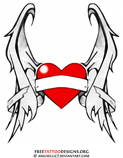 421x540 Red Heart With Wings Tattoo Design