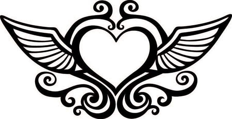 760x391 Wings Clipart Black Heart