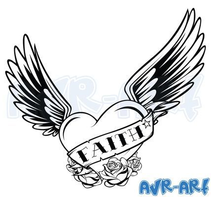 428x400 Faith' Heart With Wings Tattoo Design By Avrart Angel Wings