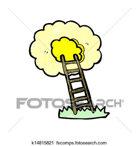 449x470 Clipart Of Cartoon Ladder To Heaven K14815821