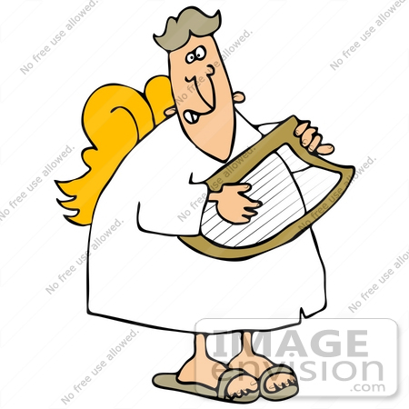 450x450 Clip Art Graphic Of A Musical Angel Strumming A Lyrestrument