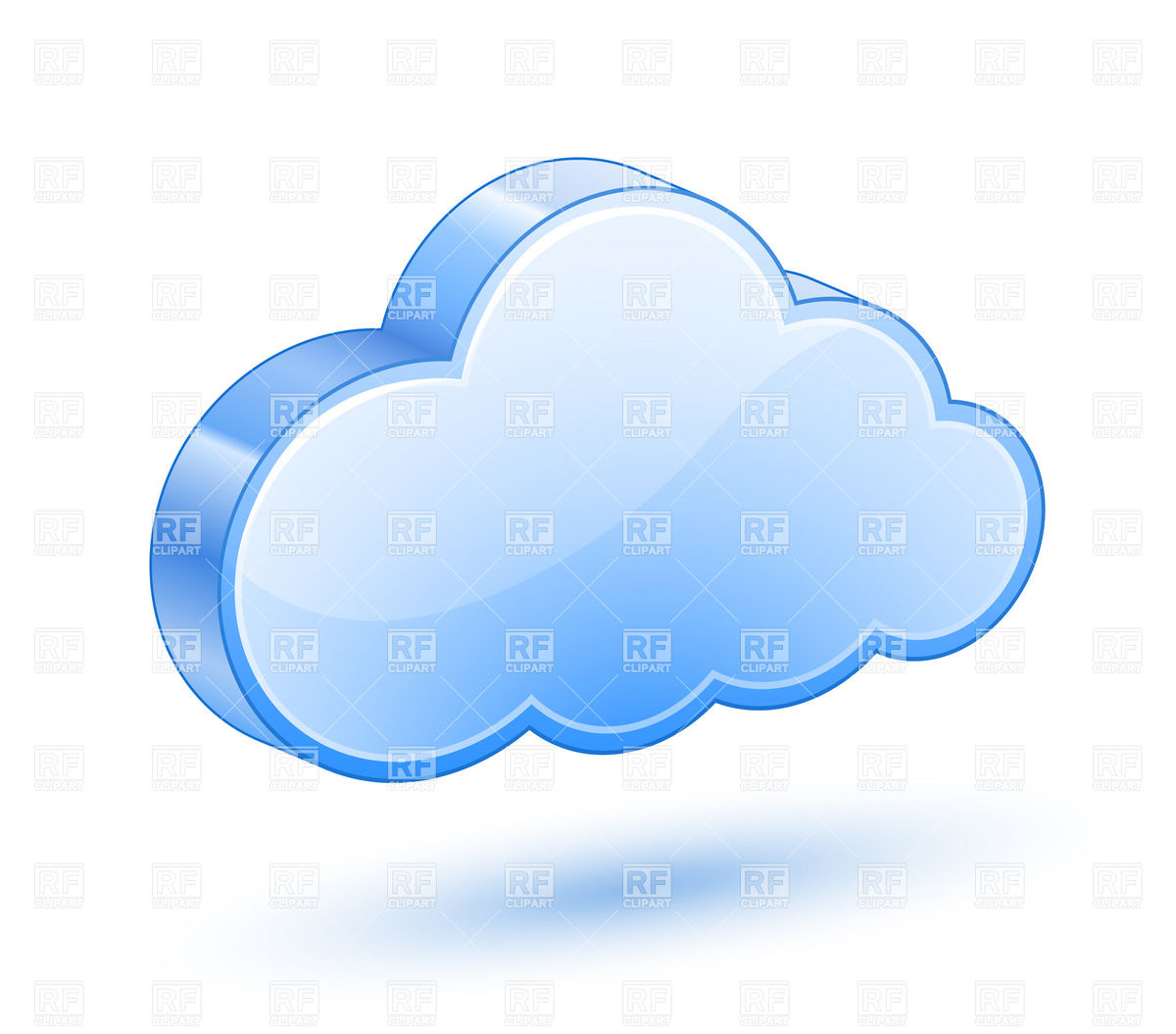 1200x1055 Glossy Blue Cloud With Shadow Royalty Free Vector Clip Art Image