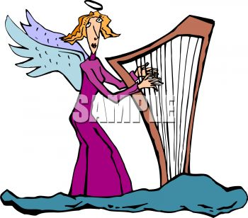 350x308 Skinny Angel Playing A Harp In Heaven