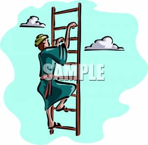 300x294 Free Clipart Image A Man Climbing The Ladder To Heaven