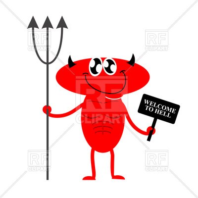 400x400 Funny Smiling Devil With Banner Welcome To Hell Royalty Free