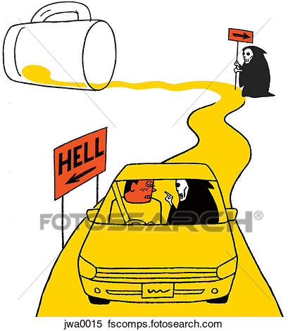 409x470 Stock Illustration Of A Man Driving To Hell On A Road Of Spilt