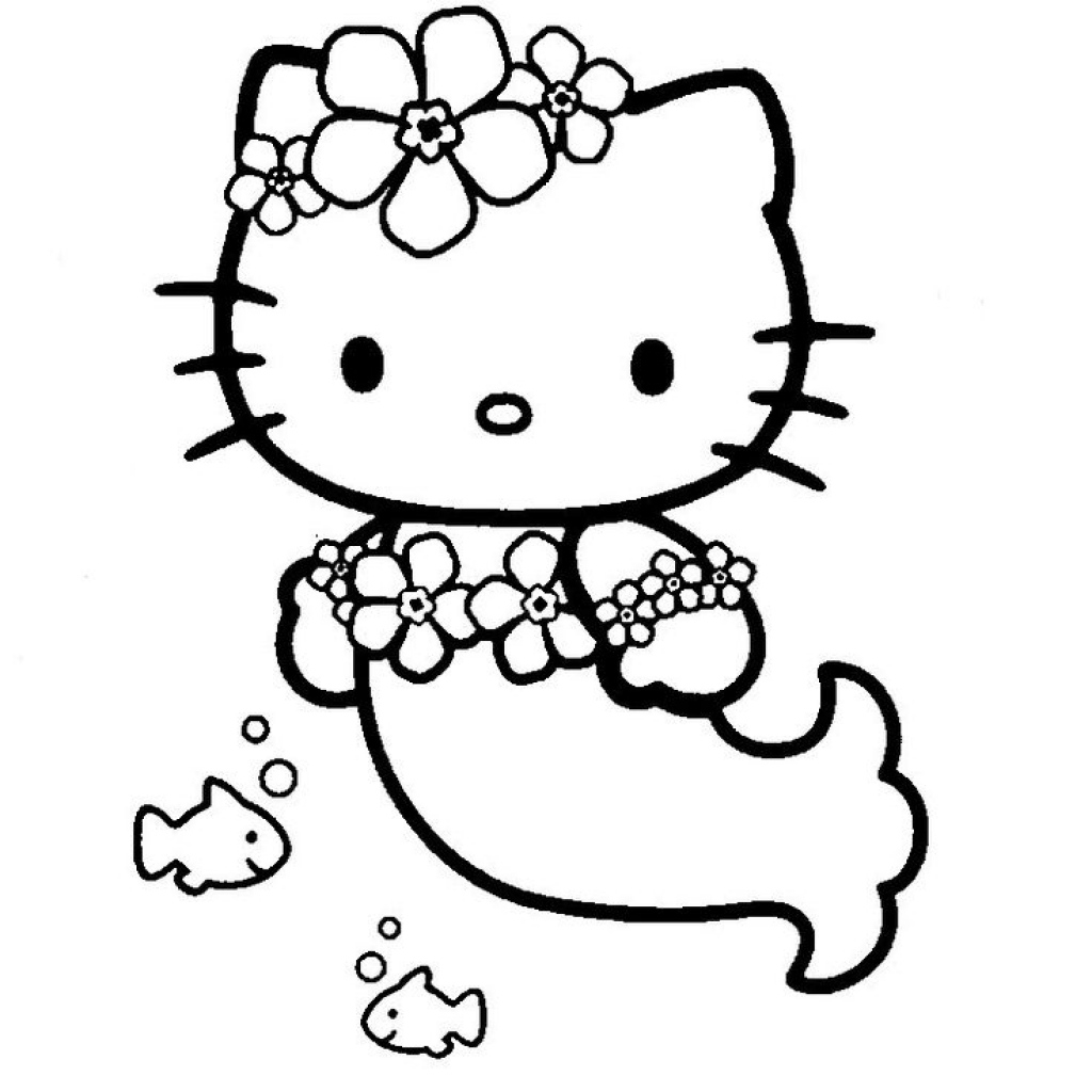 1024x1024 hello kitty mermaid coloring pages to invigorate to color page