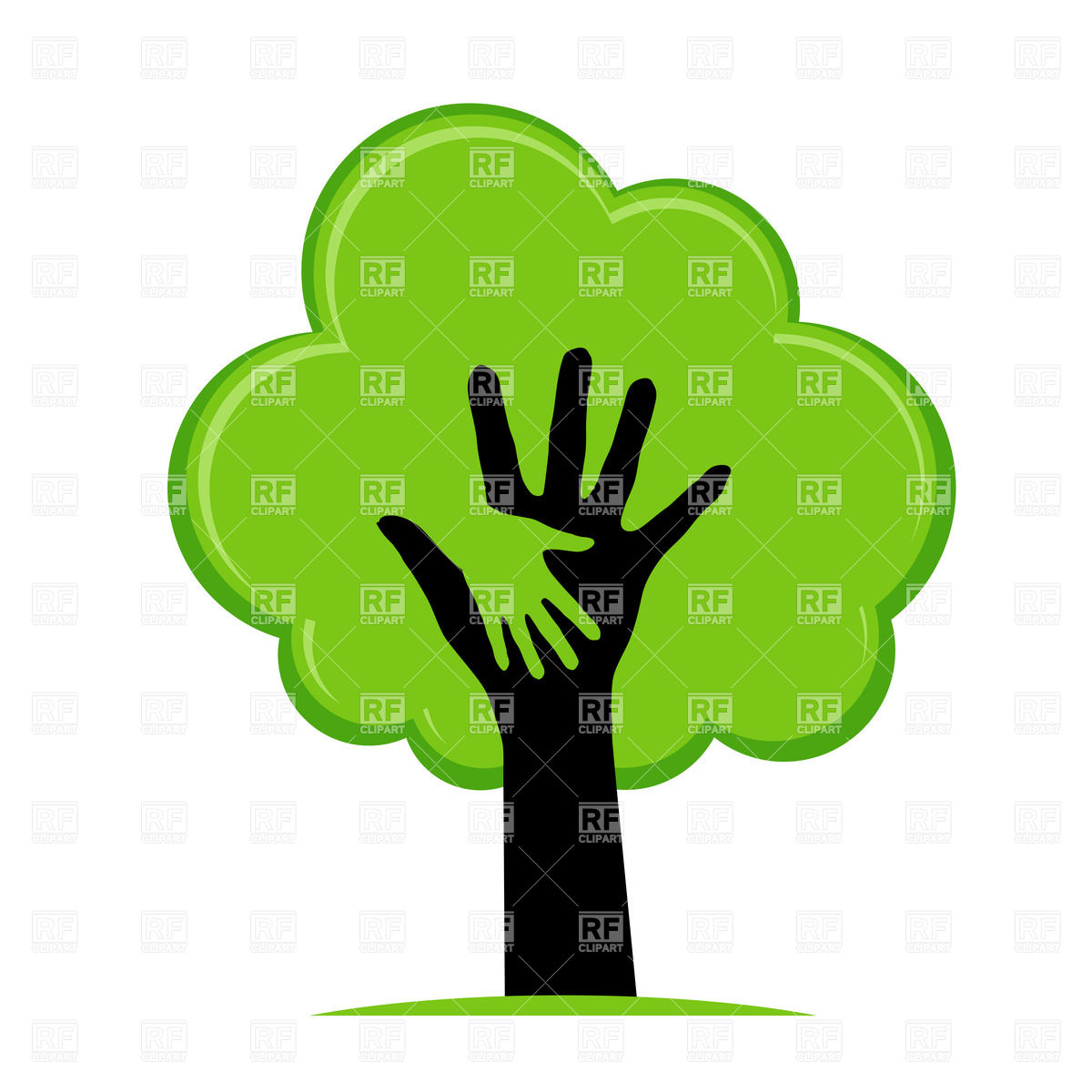 1200x1200 Helping Hand In The Green Tree Royalty Free Vector Clip Art Image