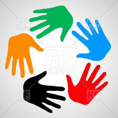 400x400 Colorful Hands As Symbol Friendship, Help And Support Royalty Free