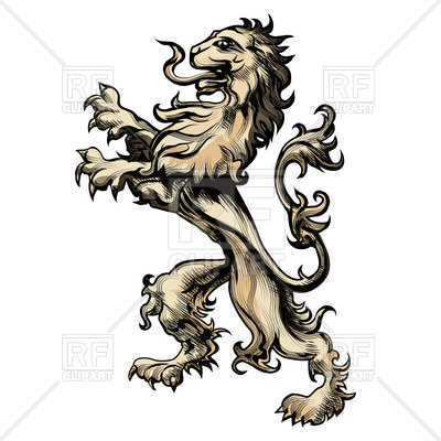 400x400 Heraldic Lion Drawn In Engraving Style Royalty Free Vector Clip