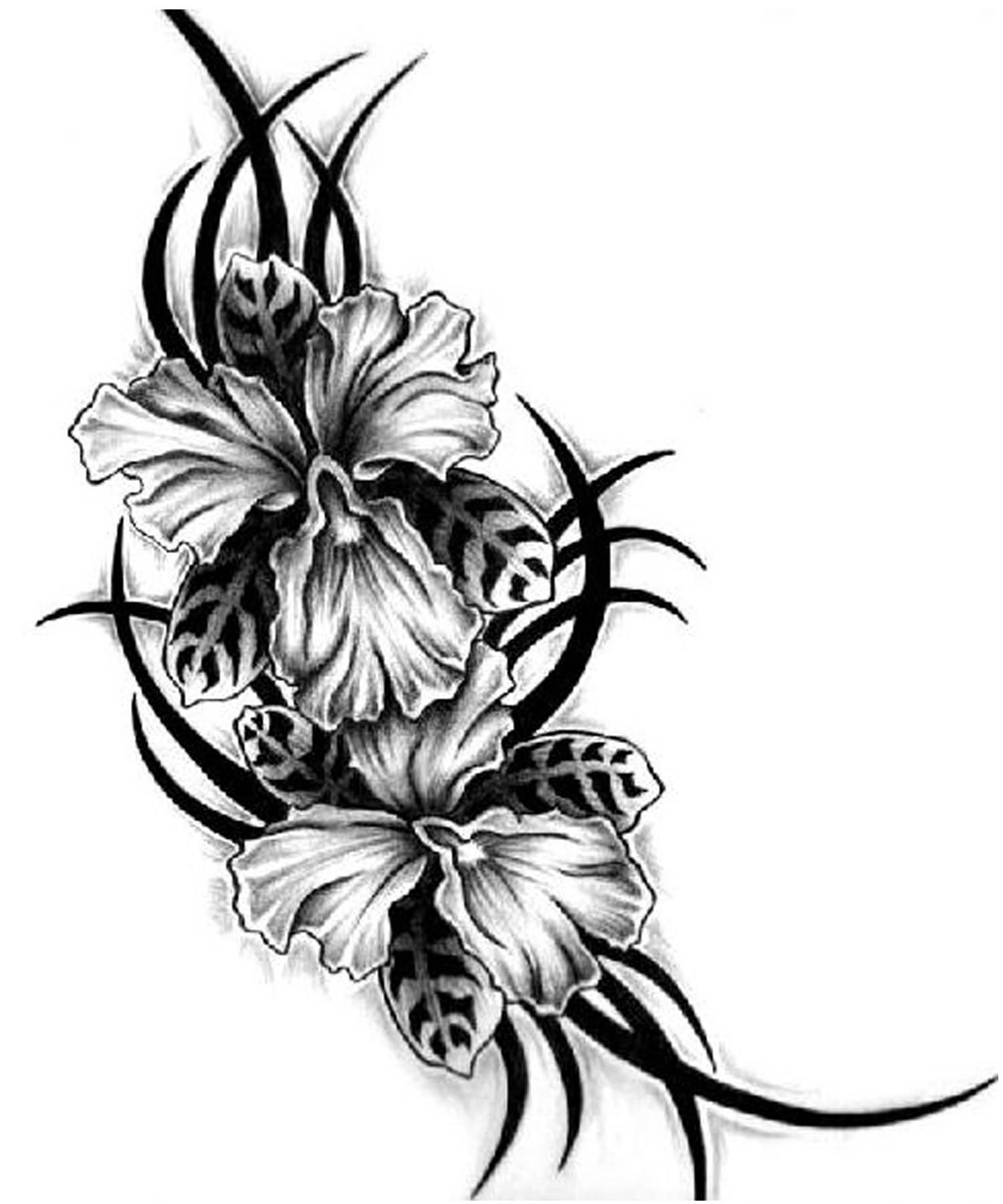 1500x1800 Hibiscus Black And White Tattoos