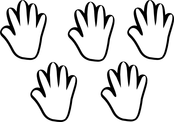 600x421 Child Handprint Blackwhite 5 Clip Art