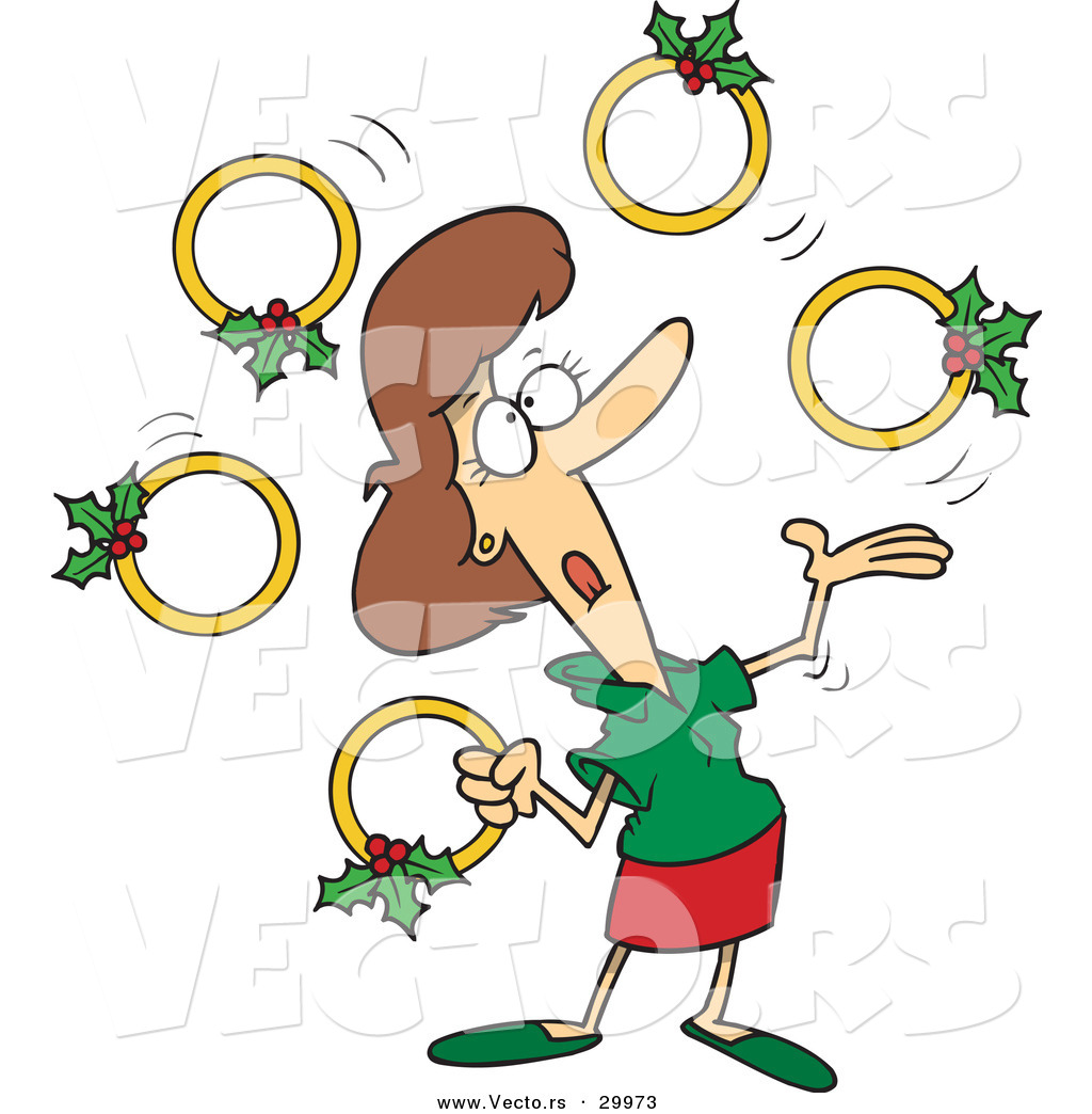 1024x1044 Cartoon Vector Of A Woman Juggling Five Gold Christmas Rings By