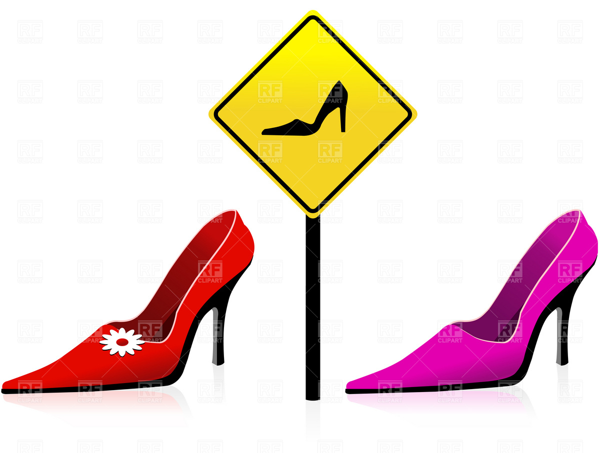 1200x907 Red, High Hill Women Shoes And Female Sign Royalty Free Vector