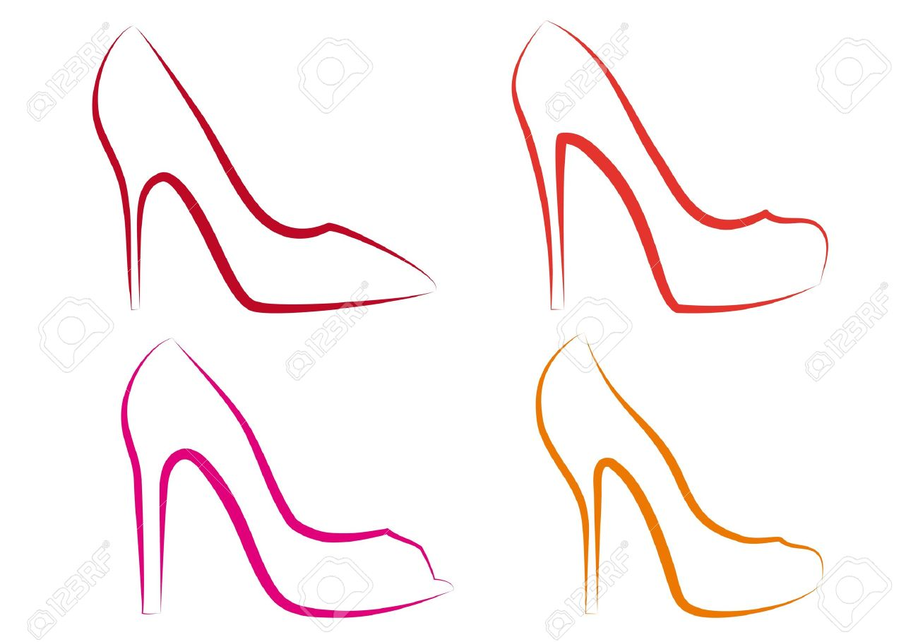 1300x909 High Heel Shoes Line Art, Vector Set Royalty Free Cliparts