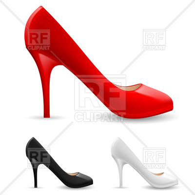 400x400 Red, Black And White High Heel Women Shoes Royalty Free Vector