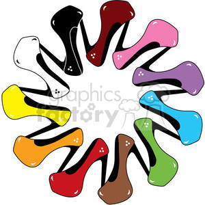 300x300 Royalty Free High Heels Shoe Of Every Color 387479 Vector Clip Art