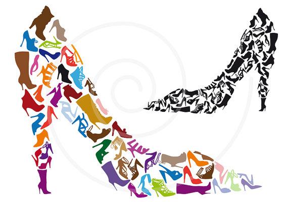 570x399 Shoe Clipart Shoe Silhouettes Digital Clip Art High Heels