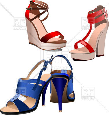377x400 Stylish Female High Heeled Shoes Royalty Free Vector Clip Art