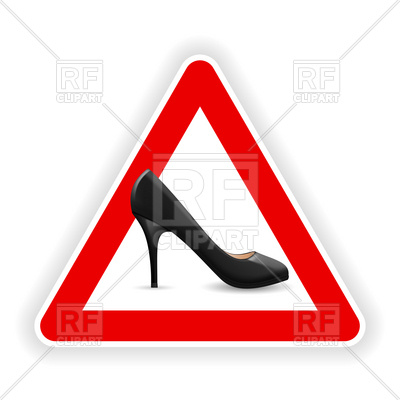 400x400 Warning Sign With High Heel Shoe Royalty Free Vector Clip Art