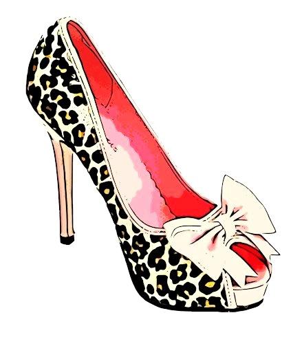439x503 Womens Fashion Leopard Bow High Heel Shoe Clip Art Digital