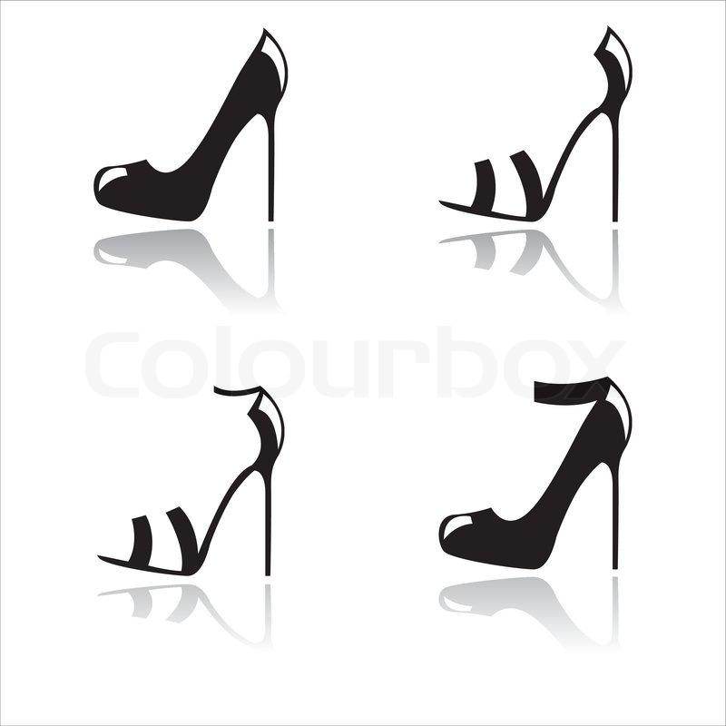 800x800 Black High Heel Shoes Stock Vector Colourbox