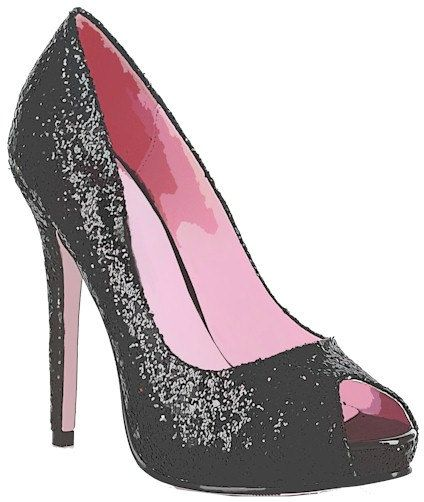 424x502 Glittery sparkly black high heel womans shoe clip art digital